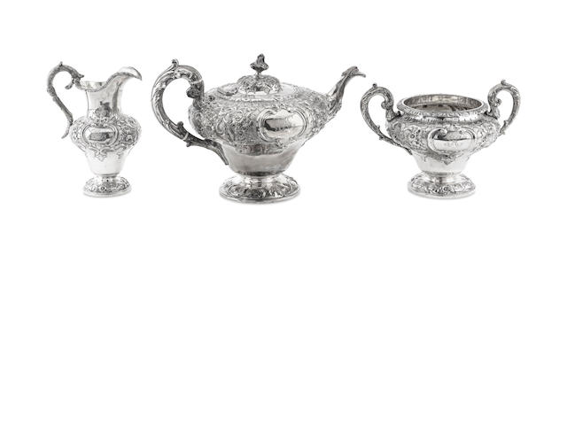A Victorian three piece silver tea service  by John Mckay, Edinburgh 1857/8  (3)