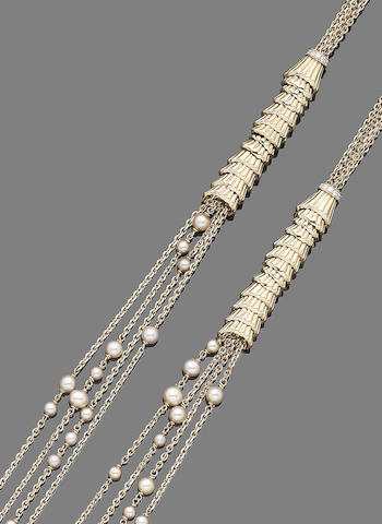 A pearl and diamond long chain, by Boucheron