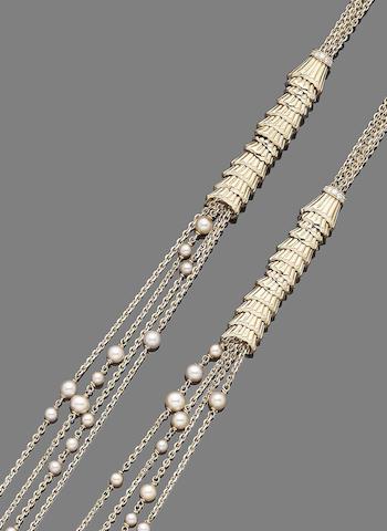 A pearl and diamond long chain, by Boucheron
