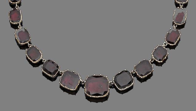 A garnet rivière necklace