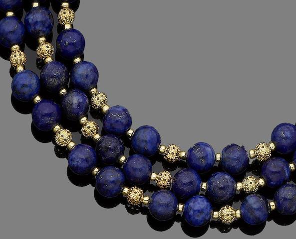 A lapis lazuli three-strand necklace