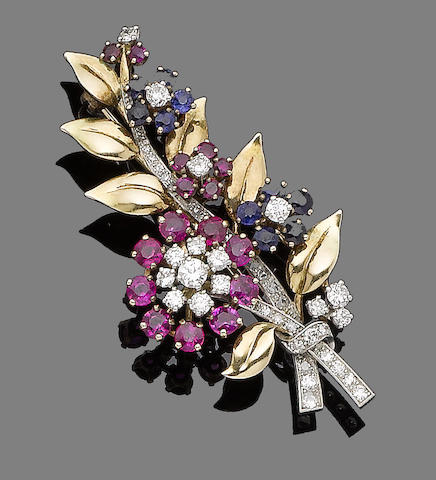 A ruby, sapphire and diamond flower brooch
