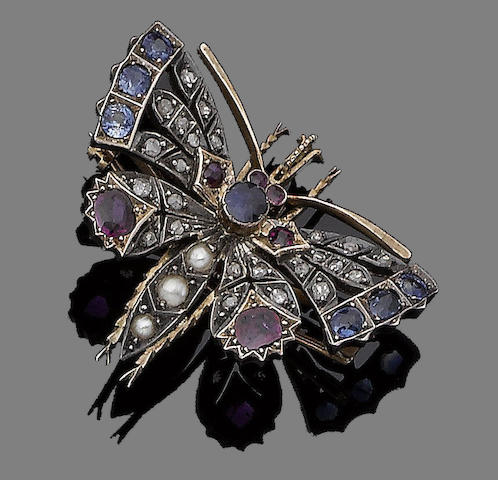A sapphire, ruby, pearl and diamond butterfly brooch,