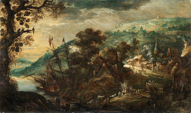 Kerstiaen de Keuninck (Antwerp 1560-1633) Figures around a fire, before an extensive river landscape, with a ship moored in the distance unframed
