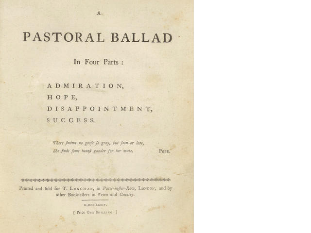 JOHNSON (SAMUEL, of Shrewsbury)] A Pastoral Ballad in Four Parts: Admiration, Hope, Disappointment, Success, FIRST EDITION, 1794