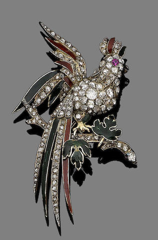 A late 19th century enamel, ruby and diamond brooch,