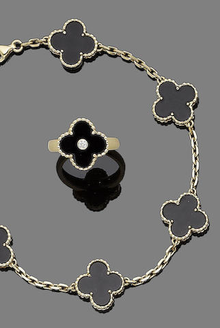 An onyx 'Alhambra' bracelet and ring suite, by Van Cleef & Arpels (2)