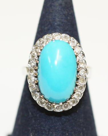 A turquoise and diamond cluster ring,