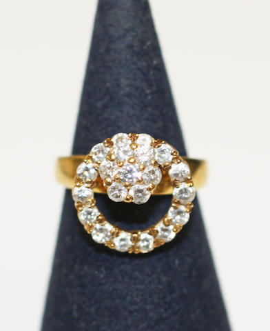 A diamond cluster swivel ring,