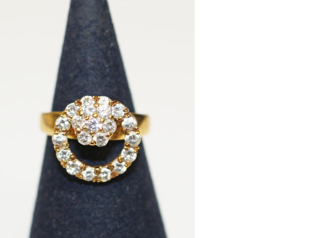 A diamond cluster swivel ring