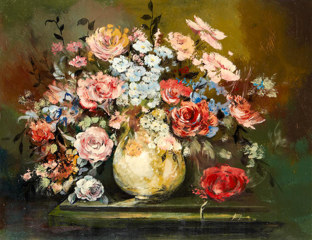 Jan Dingemans (South African, 1921-2001) Still life of pink and red flowers