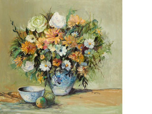 Johannes Wilhelmus (Jan) Dingemans (South African, 1921-2001) Still life of orange and white flowers