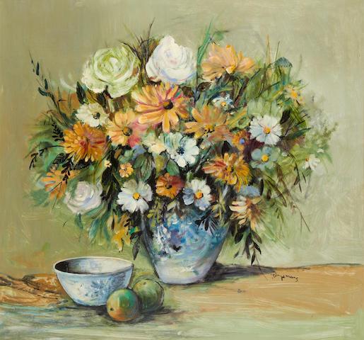 Johannes Wilhelmus (Jan) Dingemans (South African, 1921-2001) Still life of orange and white flowers