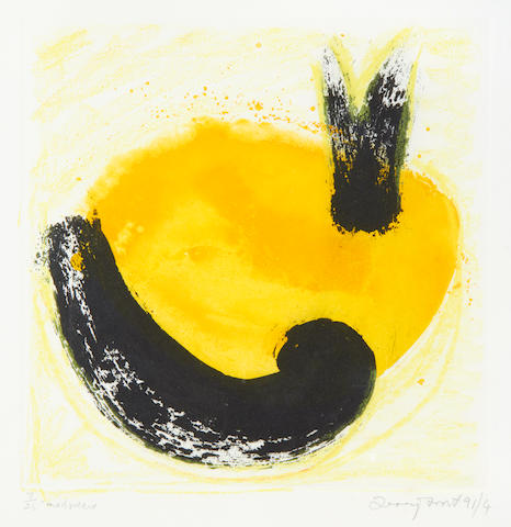 Sir Terry Frost R.A. (British, 1915-2003) Ghost I (Yellow) Etching with aquatint in black and yellow and extensive additions in yellow crayon, 1991, on wove, signed, dated and numbered 7/25 in pencil, inscribed 'mixed media', published by the artist, Newlyn, printed by the Print Center, London, with full margins, 300 x 300mm (11 3/4 x 11 3/4in)(PL)