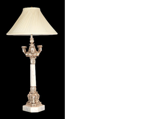 A Regency style marble and silvered metal lamp base