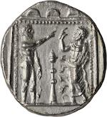 Cilicia, Tarsus, Satrap Datames, Stater, 378-362 BC 10.29g. BM-21. Obverse: 'BLTRZ' in Aramaic left, Baaltars seated right, torso facing, holding grain ear, grapes & eagle-tipped sceptre, thymiaterion to right; all within crenellated wall. Reverse: 'TRDMW' in Aramaic, Ana, nude, facing Datames; both have their right arms raised; between them, thymiaterion; all within square dotted border.