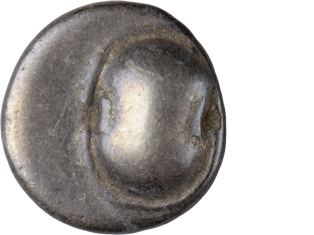 Boeotia, Thebes, Hemidrachm, c. 480-456 BC 2.68g. BM-19. Obverse: Boeotian shield aligned to the right. Reverse: Amphora in incuse square. Deep blue-gray patina adds a fully original appearance to each side. A simply designed but highly attractive example.  US$200-300