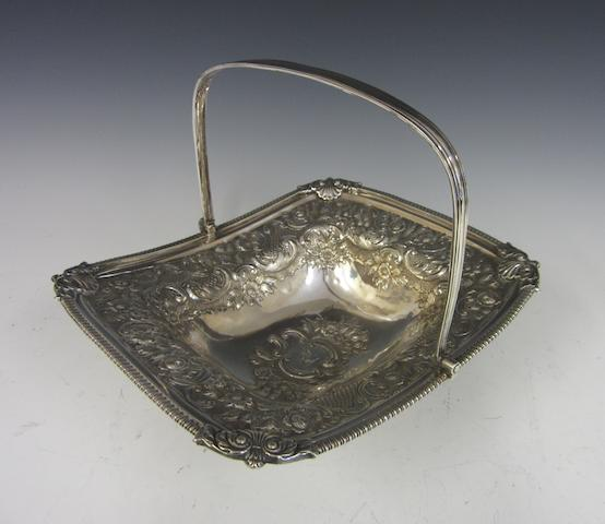 A George III silver rectangular swing-handle basket by Thomas Death, London 1814