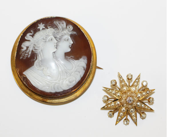 Diamond and pearl star brooch and a cameo ring (emerald ring w/d and returned to vendor)
