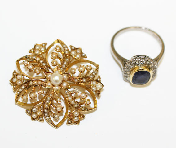 A sapphire and diamond cluster ring and a seed pearl set brooch,