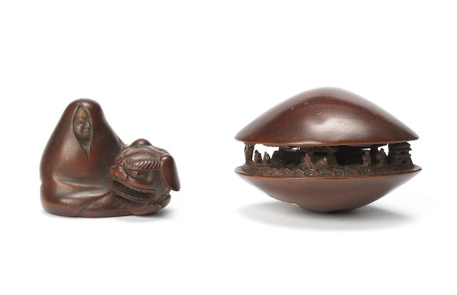 Two wood netsuke The first by Hojitsu and and the second by Minkosai, 19th century