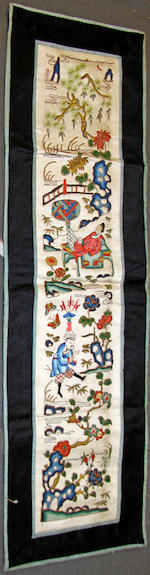 A Chinese silk sleeve panel, Qing dynasty, 19th Century, embroidered with figures in a water landscape, later mounted in a narrow rectangular tray, two others, unframed, a red silk hanging, four small unframed paintings on silk, pair of framed paintings on silk of birds, and a painting of a mountainous landscape. (11)