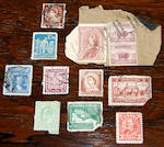 Stamps: a small collection of Queen Victoria 1d red and Commonwealth stamped envelopes, various stamps, postcards and other ephemera.