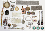 A small collection of assorted jewellery, including an enamelled pendant, Art Nouveau brooch, lockets, mourning jewellery, buttons, buckles and belts