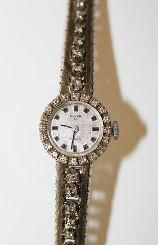 A lady's 18ct white gold and diamond wristwatch