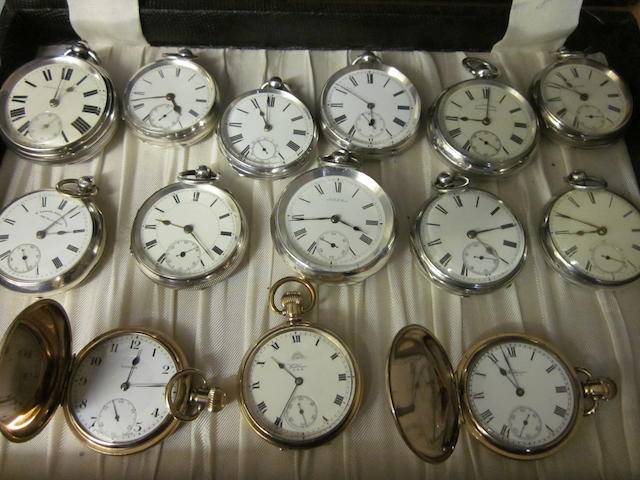 A Victorian silver open face key wound pocket watch, (14)