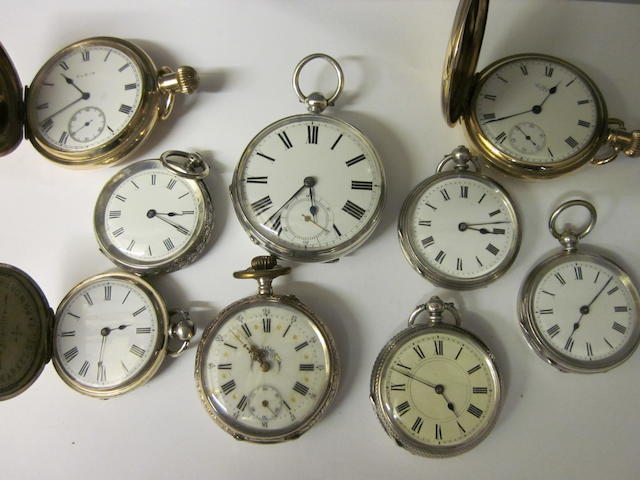 Waltham: A silver open face key wound pocket watch,   (9)