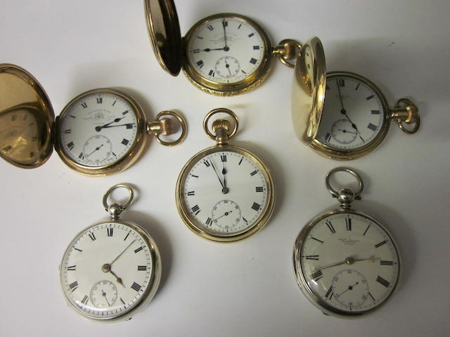 Thomas Russell and Son: A rolled gold hunter pocket watch,  (6)