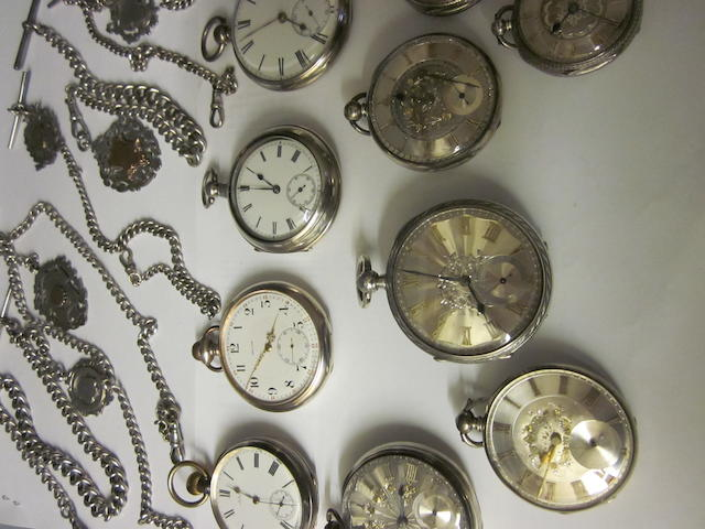 An Edwardian open faced key wound pocket watch, (15)