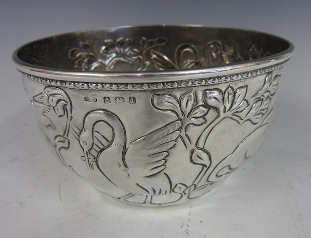 An Arts & Crafts silver bowl by A.E. Jones Birmingham, 1908