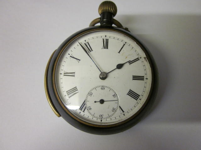 A gun metal open faced repeater pocket watch,