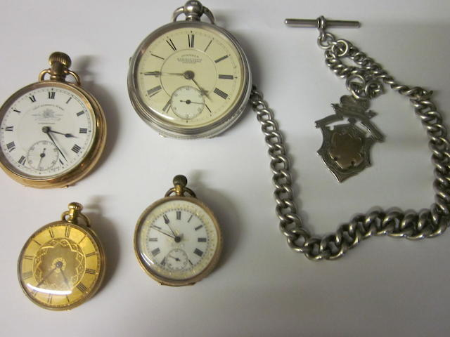 Johnson Railway watch manufacturer, Preston: A Victorian silver open face key wound pocket watch, (5)