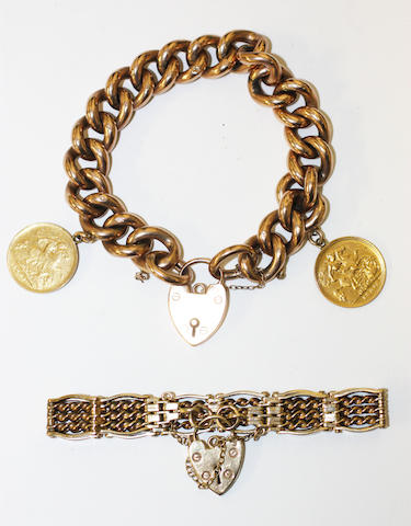 A  gate-link bracelet and a curb-link bracelet