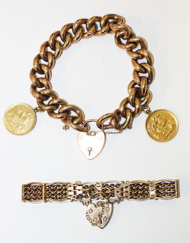 A  gate-link bracelet and a curb-link bracelet