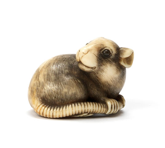 An ivory netsuke of a rat Kyoto, late 18th century