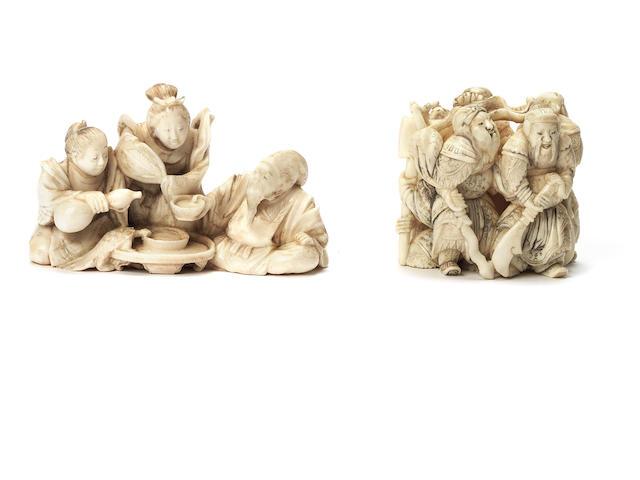 Two ivory okimono-style figure netsuke By Kinsai and Kogyoku, Meiji Period