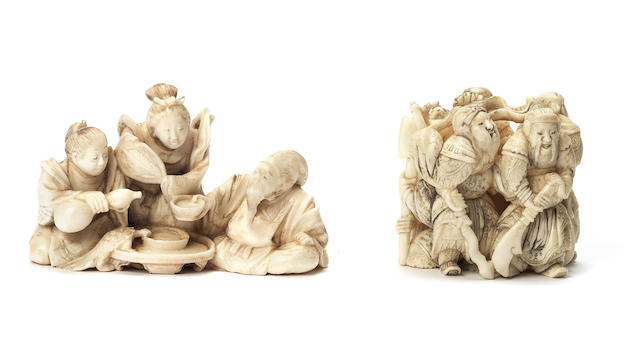 Two ivory okimono-style figure netsuke By Kinsai and Kogyoku, Meiji Period