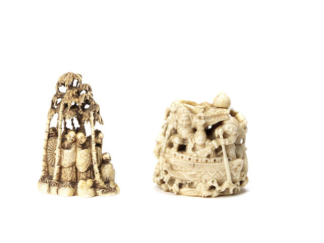 Two ivory okimono-style netsuke The first by Masamitsu and the second by Gyokkosai, Meiji Period