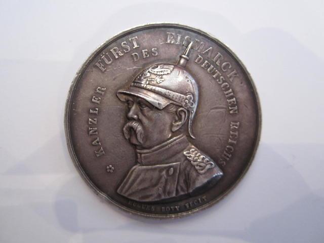Otto von Bismarck, silver medallion 44mm diam., bust of Bismarck left, Furst Bismarck  Kanzler des Deutschen Reichs around edge,