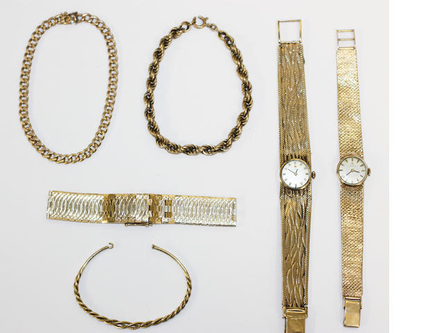 Two 9ct gold wristwatches 2 chain link bracelets bangle 9ct bracelet