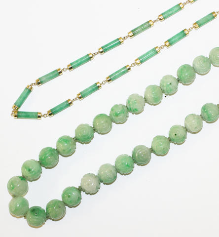 Carved jade bead necklace & jade baton link necklace