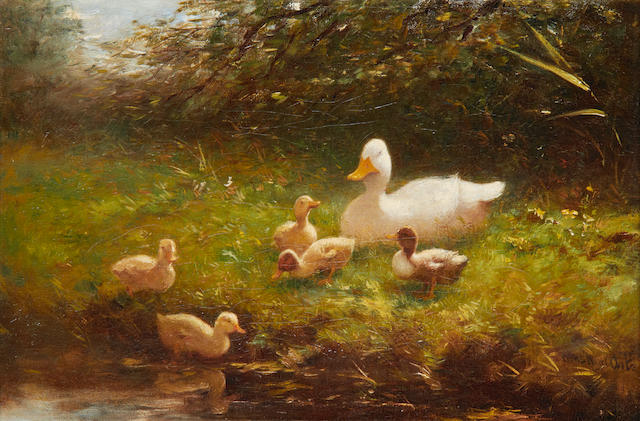 Constant Artz (Dutch, 1870-1951) A duck and ducklings on a river bank