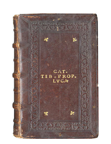 CATULLUS, TIBULLUS and PROPERTIUS [Opera], Aldus, 1502; bound with another work