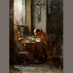 Continental School, (circa 1860) Monk seated at a desk painting a manuscript