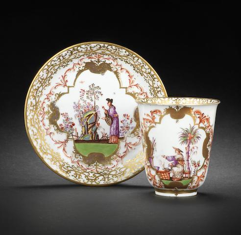A Meissen beaker and saucer, circa 1725