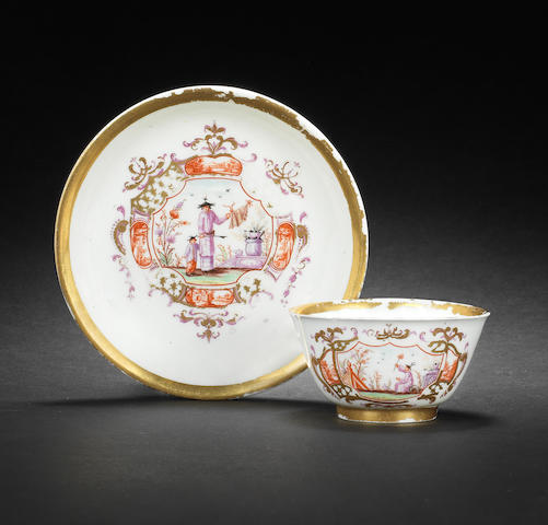 A Meissen Hausmaler teabowl and saucer, circa 1720, the decoration circa 1737